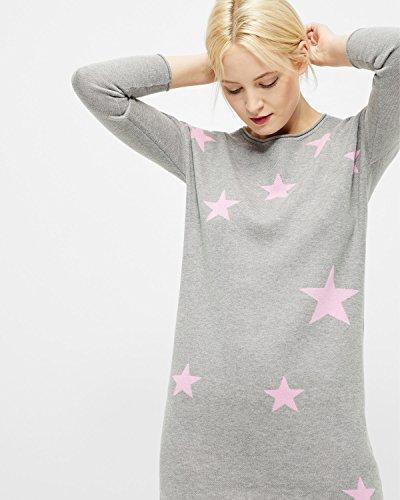 ONLY Damen Strickkleid onlKARINNE L/S DRESS KNT Strick Long-Pullover Hellgrau rosa Sterne ( Light Grey Melange )