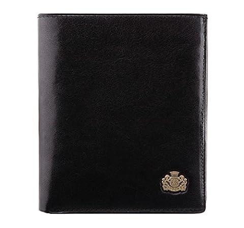 WITTCHEN Portemonnaie Geldbörse, 2x11.5x13cm, Schwarz, Naturleder, Leder, Handmade, 10-1-139-1