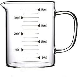 AsentechUK® Medidor de vidrio transparente de borosilicato alto para alimentos, leche, taza o jarra para agua. 350 ml transparente