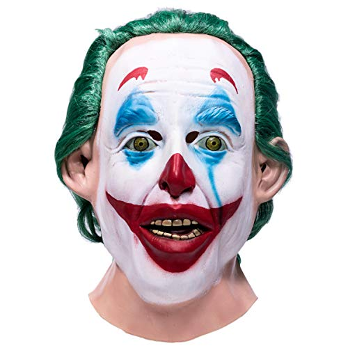 Wellgift Joker Maske mit Grün Perücke Haar Cosplay Kostüm Halloween Erwachsene Vollkopf Latex Scary Helm Fancy Dress Merchandise Prop