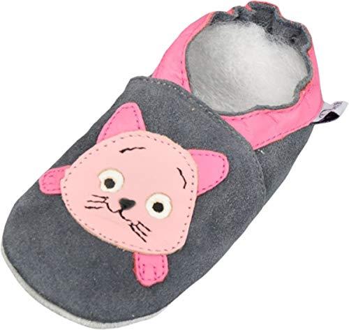Lappade Kitty grau-rosa Wildleder Mädchen Lederpuschen Hausschuhe Krabbelschuhe Baby Lauflernschuhe mit Ledersohle (Gr. 21/22 EU L, Art. 102)