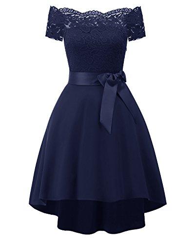 KAXIDY Damen Kleider Damen Spitze Patchwork Schulterfrei Elegant Cocktailkleid (Marine-blau, Small)