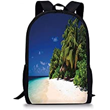 VVIANS School Bags Tropical,Sandy Beach Coast with Exotic Trees Maldives Paradise Surreal Scenery Decorative