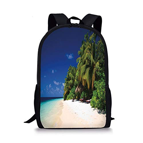 School Bags Tropical,Sandy Beach Coast with Exotic Trees Maldives Paradise Surreal Scenery Decorative,Lime Green Blue Cream for Boys&Girls Mens Sport Daypack -