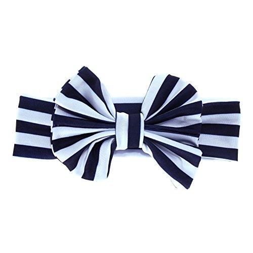 Rrimin Turban Knot Head Baby Girls Big Bow Stripe Hairband Navy blue