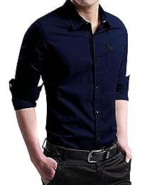 BUSIM Men's Long Sleeve Shirt Autumn Casual Military Uniform Solid Color Lapel Collar Slim Button Pocket T-Shirt...