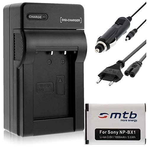 Batterie NP-BX1 + Chargeur pour Sony Cyber-Shot DSC-H400, HX50, HX80, HX50, HX80V, HX60, HX60V, HX90, HX90V, HX300.