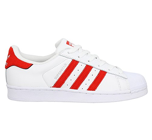 adidas Superstar, Sneaker a Collo Basso Uomo Bianco (Footwear White/solar Red/solar Red)