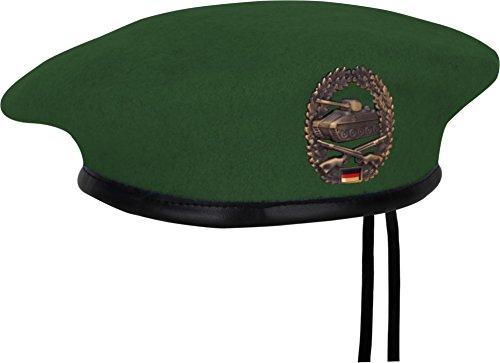 normani BW Barett Grün 100% Wolle mit Panzergrenadier Abzeichen aus Metall Größe 62 (Mit Abzeichen)