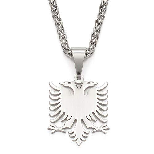 XZZZBXL Map Necklace for Women,Albanien Eagle Karte Anhänger Halsketten Mode Persönlichkeit Für Frauen Mädchen Farbe: Silber Kette Charme Karten Schmuck 50 cm (19,7 Zoll)-Thin_K