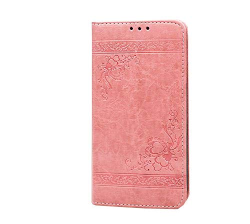 COZY HUT iPhone 7 Plus / 8 Plus Hülle, Premium Leder Serie mit Magnetverschluss/Kartenfächern/Standfunktion/Flip Case Schutzhülle Ledertasche Hülle für iPhone 7 Plus / 8 Plus - Rosa geprägt