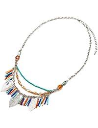 CC1317EC - Collier Multi-Rangs Chaînes Perles Multicolore et Charms Feuilles Ajourées Métal Argenté - Mode Fantaisie