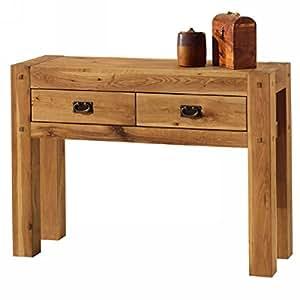 "Console 2 tiroirs chêne massif huilé ""Lodge Casita"" Meuble House"