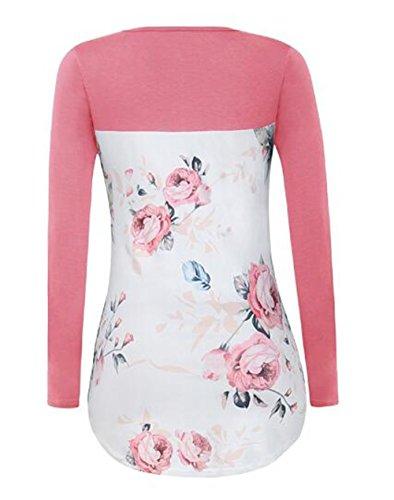 BESTHOO T-Shirt Donna Camicetta Maglia Slim Maglietta Manica Lunga Casual Elegante V-Collo Camicia Slim T-Shirt Comode Sexy Pink