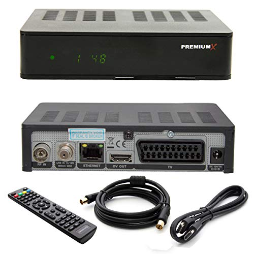 PremiumX HD 1100 Combo Digital FullHD Receiver für SAT und Kabelfernsehen DVB-S2 / DVB-C HDMI SCART USB inkl. HDMI-Kabel Antennenkabel