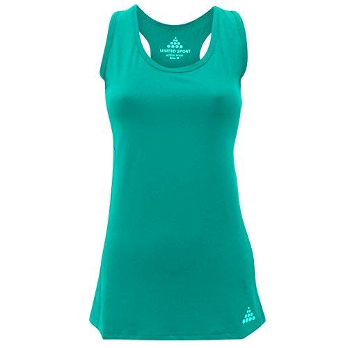 Damen Tank Top, ärmelloses Top, Shirt, Racer Back, Stretch, athletisch für Sport und Fitness Blaugrün