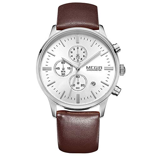 Herren-Uhr Braune Faux Leder-Uhr Silber Wählen Sport Casual Fashion Quarz Armband Uhr,A (Italienische Silber Herren-armband)