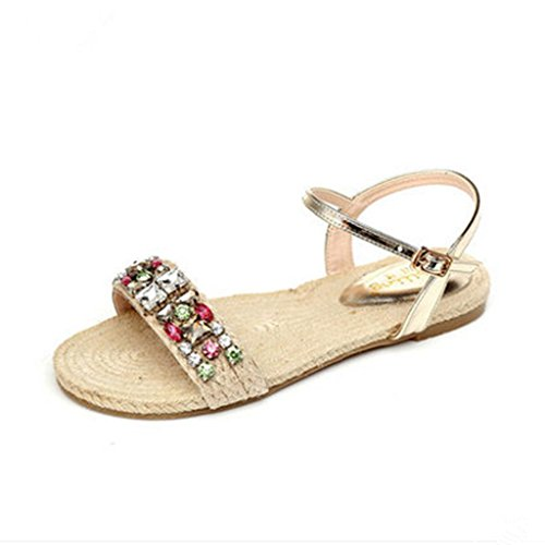 BaiLing Damen-Sommersandalen / handgemachtes gestricktes Gras flache Ferse / Art und Weise Rhinestones-Damen kleine Größe Schuhe apricot