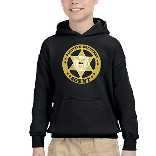 Youth Children's Pocket Hooded Sweatshirt Fugitive Recovery Agent 4 New Classic Minimalist Style Black 2T - Agent Hooded Sweatshirt