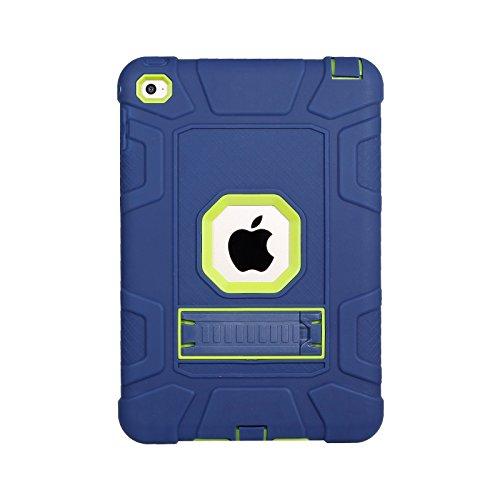 Yoomer Schutzhülle für iPad Mini 5 2019, iPad Mini 4 2015, dreilagig, strapazierfähig, kompletter Schutz, Stoßdämpfung, robuste Hybrid-Schutzhülle mit Ständer für iPad Mini 5/ iPad Mini 4, Navy+Green -