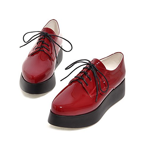 VogueZone009 Femme Couleur Unie Verni à Talon Correct Lacet Pointu Chaussures Légeres Rouge Vineux