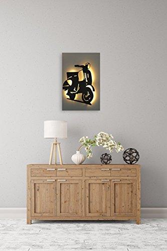 Preisvergleich Produktbild Bild Roller 1 - Leuchtbild mit LED-Beleuchtung - Lichtfarbe: tageslichtweiß Platte: beige Motiv: schwarz