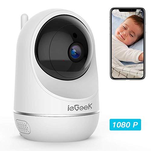ieGeek Caméra de Surveillance WiFi 1080P HD, Caméra IP Babyphone sans Fil PTZ Pan / Tilt, avec Audio Bidirectionnel, Suivi de Détection de Mouvement, Vision Nocturne- Service Cloud Disponible