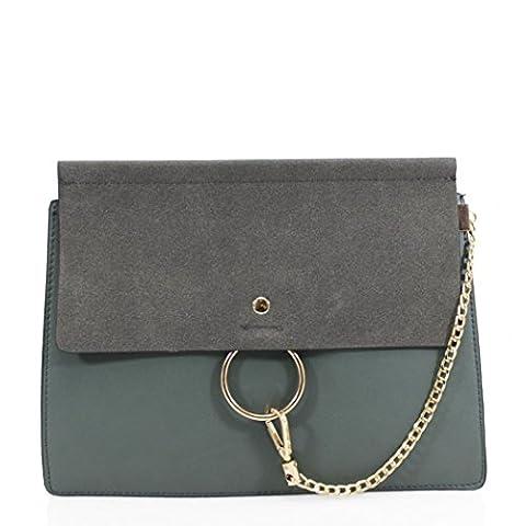 LeahWard® Damen Faux Leder Kreuz Körper Taschen Nizza Kettenring Detail Nette Handtaschen Schultertaschen CW1046 (Groß Dunkelgrün (31x5x25cm))