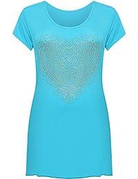 26727fabf90 Womens Plus Size Heart Stud Hanky Hem Ladies Short Sleeve Long Top - Sizes  14-