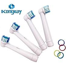 KongKay® 4 X Recambio para Cepillo eléctrico Compatible y en forma Braun Oral-B, compatibile with Oral-B / Braun Vitality Precision Clean, White Clean, Sensitive Clean, Oral-B Professional Care, Número de modelo: EB-17A / SB-17A (1PK x 4PCS)
