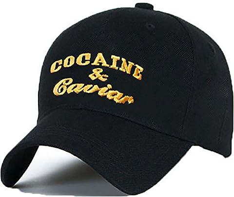 Baumwolle Baseball Cap Caps COCAINE CAVIAR Alle Buchstaben Bad Hair Day schwarz with Adjustable Strap Snapback (black gold)