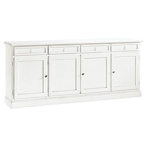 Inhouse srls credenza, arte povera, in legno massello e mdf con rifinitura in bianco opaco - mis. 205 x 42 x 86