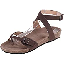 Mujer Sandalias Planas Verano Tobillo Correa Hebilla Zapatillas Plataforma Zapatos Plano Cómodos Negro Marrón ...