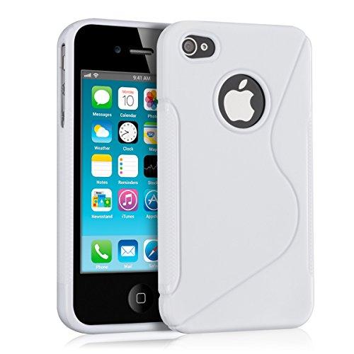 kwmobile Hülle TPU Silikon Case für > Apple iPhone 4 / 4S < mit S-Line Design - Handy Cover Schutzhülle in Weiß