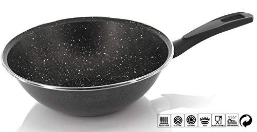 Padella da wok con Rivestimento Antiaderente, Wok ad Induzione, Saltapasta, diametro 20/28/35 cm,...