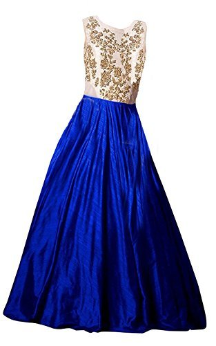 Clickedia Girl's Silk Gown (Kidss Cadbary Blue- Gown_Blue_Free Size)
