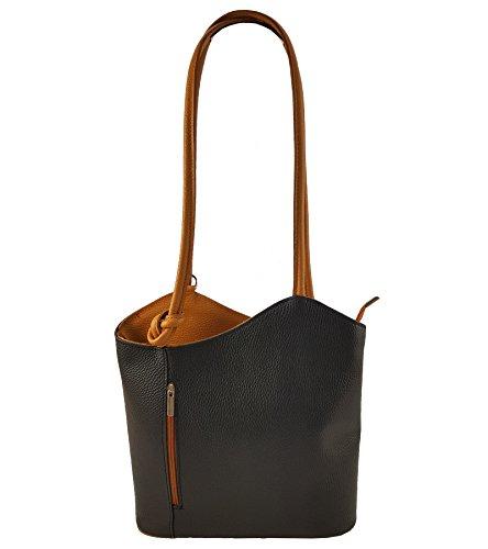 Freyday 2 in 1 Handtasche Rucksack Designer Luxus Henkeltasche aus Echtleder in versch. Designs (Glattleder Schwarz-Cognac) -