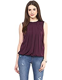 Rare Women's Burgundy Georgette Blouson Top (Ep1310)