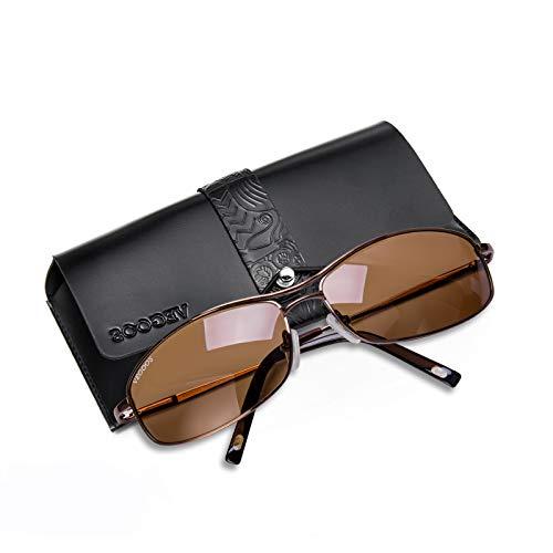 Vegoos Quadratische Sonnenbrille für Herren, polarisiert, UV400-Schutz, Retro, rechteckig, Metallrahmen Gr. S, Brown Frame Brown Lens