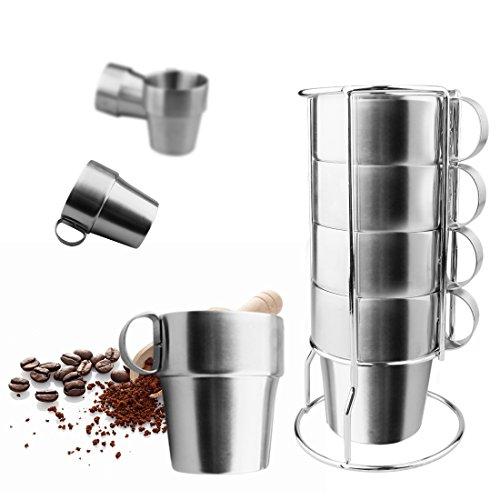 A-SZCXTOP Set de 4 tasses à café en acier inoxydable Double-couche isolée tasses à café avec un support et un sac ...