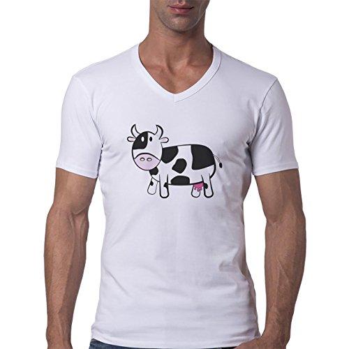 Bull Cow Animals Farm Standing Black White Pink Face Herren V-Neck T-Shirt Weiß