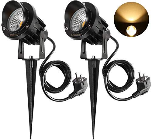 LED Gartenleuchte mit Erdspieß,LED Gartenlampe 2 Stücke 9W Warmweiß 3000-3300K 900LM led strahler außen IP65