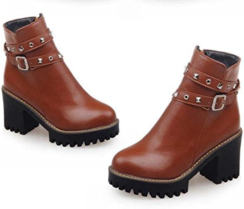 Ankle Boots Knight Boots 8cm Chunkly Talón 2.5cm Thick Plataforma Redonda Toe Alto Talones Vestido Zapatos Mujer...