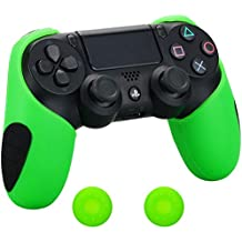Pandaren® silicona grueso medio Fundas Protectores el mando PS4 (verde) x 1 + thumb grip x 2