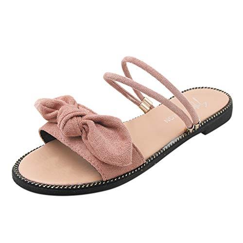 Wawer Damen Bow Mode 2019 Sommer Sandaletten Riemchen Sandalen Pumps Spitze Stiletto High Heels Bow Low Heel Pump