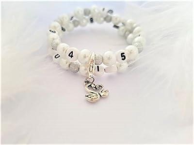 """Bracelet d'allaitement / biberon - version blanc - Collection """"bébé et maman"""""""