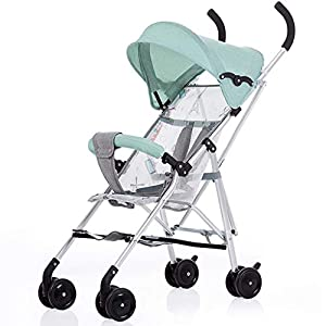 Baby Stroller Ultra Light Portable Folding Baby Umbrella Newborn Child Four Wheel Trolley Shock Baby Stroller Lightweight 2.9kg (Color : Blue)   6