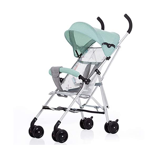 Baby Stroller Ultra Light Portable Folding Baby Umbrella Newborn Child Four Wheel Trolley Shock Baby Stroller Lightweight 2.9kg (Color : Blue) Baobcher One-button folding and closing, the whole car weighs 2.9kg, can be placed in the trunk of the car, light and compact and easy to carry. There is a mesh skylight on the back, you can observe the baby's dynamics at any time, there are large-capacity racks, you can put some of your baby's equipment. Foldable awning, awning can be adjusted, adapt to all kinds of weather, can sit, can lie, adjust the backrest hood up and down in the third gear. 1