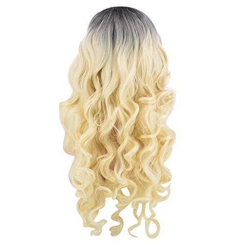☀JiaMeng Lace Frontseiten Perücken für Damen Lange Top Synthetische Haar Perücke Natürliche Farbverlauf Wurzeln Spitze Perücken für Frauen Wavy Perücke für Cosplay Karneval (Machen Sie Es Selbst Baby-halloween-kostüme)