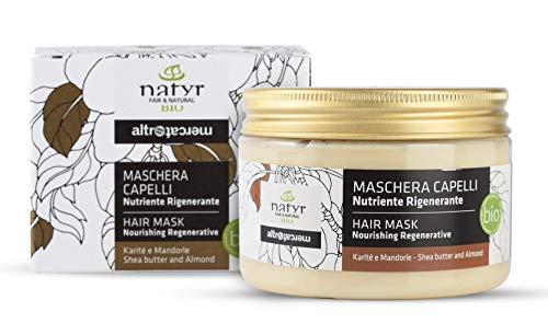 BIO Haarkur mit Sheabutter und Mandelöl ✔ Für Wirres Und Stumpfes Haar ✔ Italienische Naturkosmetik ✔ Natyr - Fair & Natural ✔ 150ml